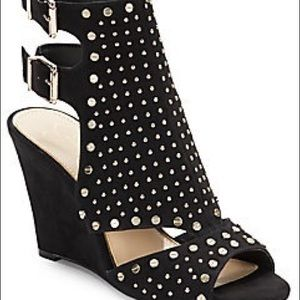 Maack studded faux suede wedge